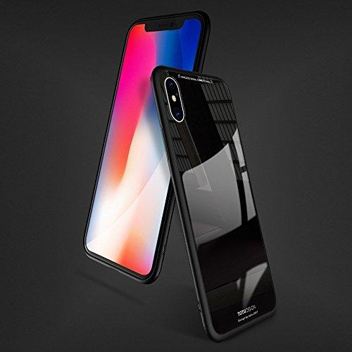 Für iPhone 5.8 Zoll Fall, Für iPhone X TPU + PC + Glas Dropproof schützende Rückseiten-Abdeckungs-Fall (5,8 Zoll) ( Color : Black )