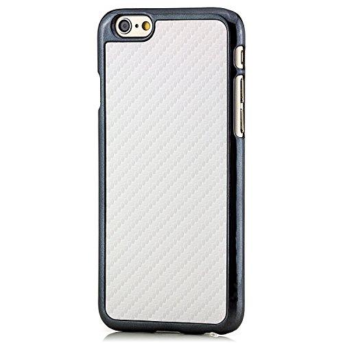 Saxonia® iPhone 6 Plus / 6S Plus Hülle Case Schutzhülle Cover Slim Design in Carbon-Optik Braun Weiß