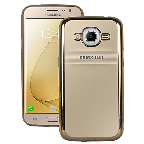 Heartly Golden Border Soft TPU Ultra Thin 0.3mm Clear Transparent Flexible Slim Back Case Cover For Samsung Galaxy J2 (2016) SM-J210 / Samsung Galaxy J2 Pro - Hot Gold