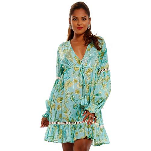 YC Fashion & Style Damen Minikleid Tunika mit Volants Sommer Strand oder Partykleid Made in India (M/L = 34/36, Türkis)