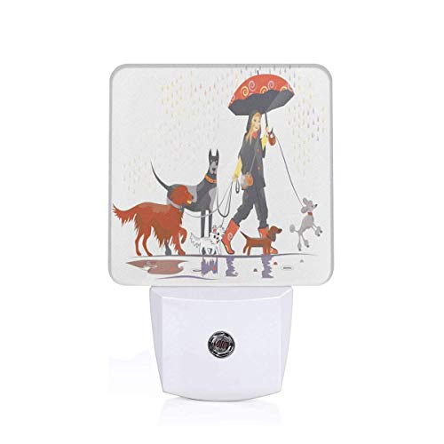 Young Modern Girl Taking Pack Of Dog For A Walk In The Rain Fun Joyful Times Artsy Print Plug-in LED Night Light Lamp with Dusk to Dawn Sensor, Night Home Decor Bed Lamp -