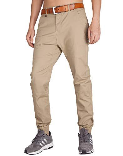 ITALY MORN Chinos Jogger Pantalon Caqui Hombre Slim Fit para Trabajo (34, Caqui)