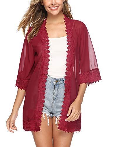 Rot Floral Kimono (Hawiton Damen Chiffon Floral Kimono - Leicht Sommer Cardigan Boho Strand Kimono Florale Tops Chiffon Shawl Bluse Beachwear Bikini Cover up)