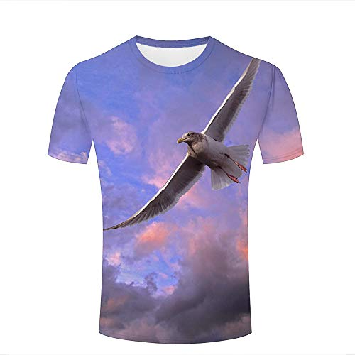 Mens Womens 3D Printed Casual T-Shirts Blue Sky with Flying Birds Graphic Crewneck Short Sleeve Fashion Couple Tees M
