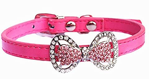 Bling Rhinestone Pet Cat Dog Bow Tie Collar Necklace Jewelry, Female Puppies Chihuahua Yorkie Girl Costume Outfits (XS, Peach)