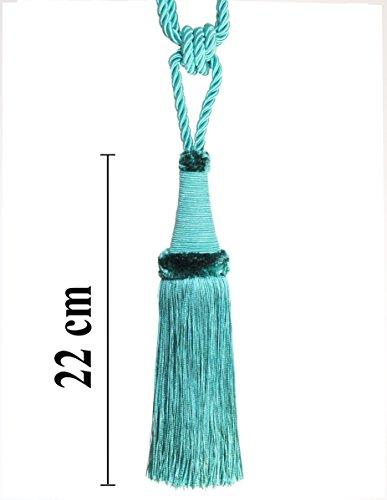 Raffhalter 65 cm / Quaste 22 cm mit Kordel Farbe Türkis Schmuckquaste Gardinen Vorhang...