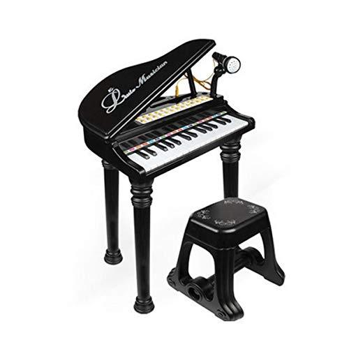 Elektronische Tastatur, Kindertastatur, geeignet für Kinder von 3-12 Jahren, 46,5 * 71 * 38,5 cm, Schwarz, Pink (Color : Black-43 * 15 * 62cm)