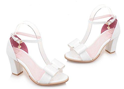 Aisun Femme Elégant Nœud Bout Ouvert Boucle Sandales Blanc