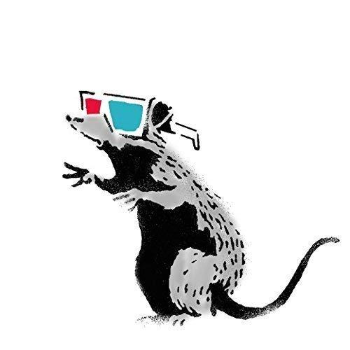 Banksy Ratte Graffiti Schablone - 3D Brille Ratte/Wiederverwendbar Wohndeko & Kunst Handwerk Malerei Schablone - halb geschliffen Durchsichtig Schablone, M/ 26X30CM