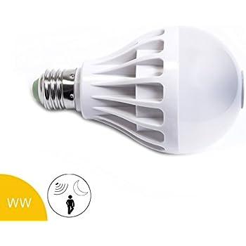 Bombilla LED (12 W, E27, y sensor de movimiento crepuscular, Blanco cálido