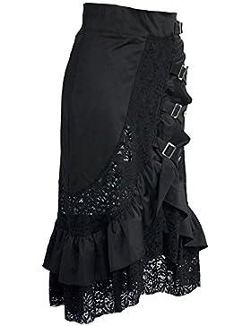 coswe mujeres la ropa vintage steampunk gótico victoriano algodón faldas fiesta encaje negro Gypsy Hippie