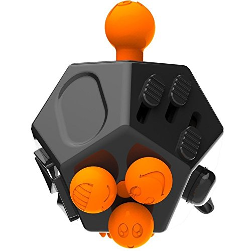 Fashion Fidget Cube 2 12-Side Fidget Cube Spinner Toy Stress Anxiety Relieves Stress and Anxiety and Relax for Children and Adults with ADHD ADD OCD Autism (Black$ Orange) -