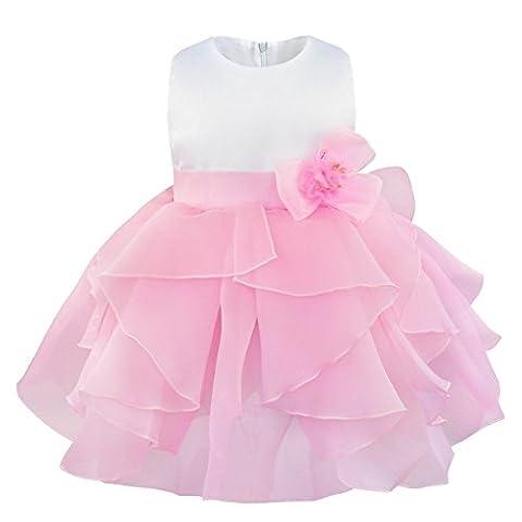 iiniim Baby Girls Princess Sleeveless Organza Tutu Dress Birthday Party Baptism Clothing Pink 3 Years