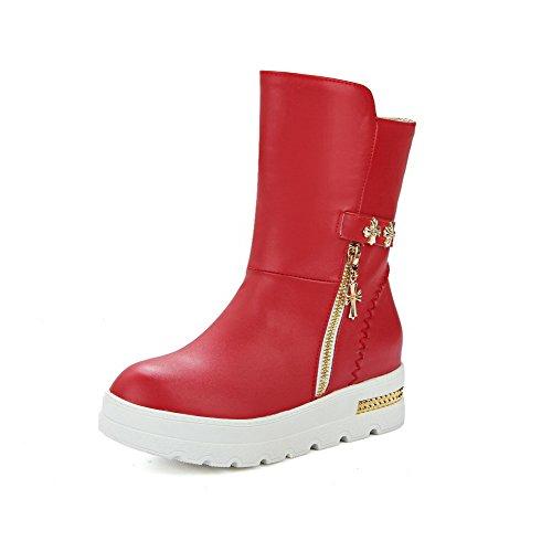 VogueZone009 Damen Mittler Absatz Weiches Material Ziehen Auf Stiefel mit Metallisch Rot
