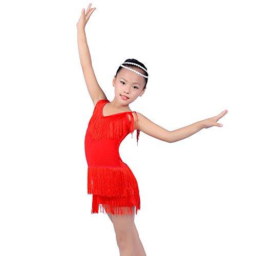 Für Verkauf Kostüm Latein - KINDOYO Heißer Verkauf Mädchen Sling V-Ausschnitt Quaste Latin Dance Kleider Performance Kostüm (110, Rot)