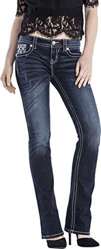 Miss Me Womens Embellished Back Flap Bootcut Jeans, 30, Denim
