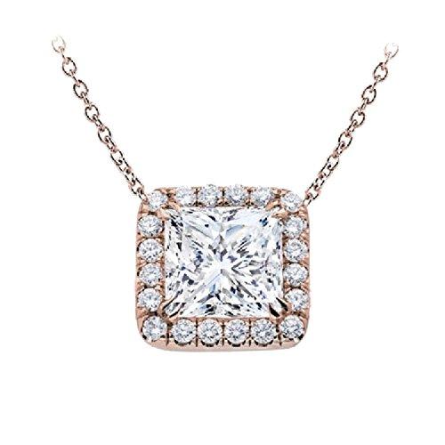 Diamant Coupe Princesse Halo Pendentif