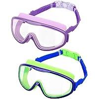 HeySplash [2PZS Gafas de Natación para Niños Transparente Sin Fugas Anti-vaho, Antiniebla Gafas Protección UV de Visión Amplia con Clips de Nariz y Tapones para Oídos - Púrpura y Azul