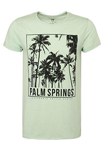 SUBLEVEL Herren Print-Shirt - Palm Springs   Meliertes Basic T-Shirt aus hochwertigem Jersey Material middle-green