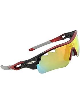 DUCO 0025 – Gafas de sol deportivas, polarizadas, con 5 lentes intercambiables. Protección UV400 anti rayos UVA...