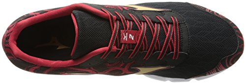 Mizuno Wave Hitogami 2 Synthétique Chaussure de Course Black-Gold-Haute Red