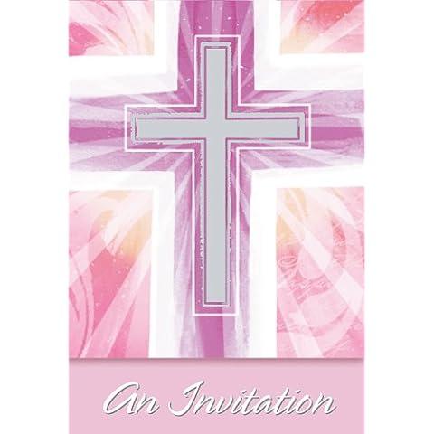 Amscan International - Confezione da 8 inviti per comunione, colore rosa