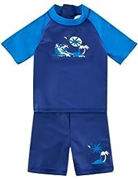 Landora®: Baby- / Kleinkinder-Badebekleidung kurzärmliges 2er Set mit UV-Schutz und Oeko-Tex 100 Zertifizierung in Blautönen