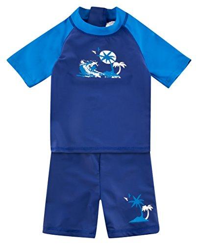 Landora: Baby- / Kinder-Badebekleidung kurzärmliges UV-Schutz 2er Set Marine, Größe 74/80