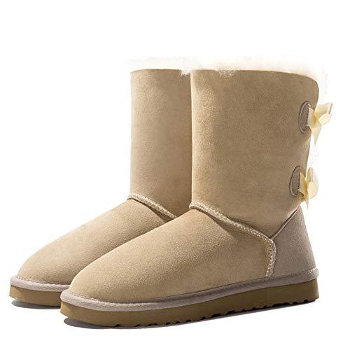 MENGLTX High Heels Sandalen Frauen Echtes Leder Mitte Der Wade Schuhe Frau Warme Schneeschuhe Wohnungen Fersen Bequem Herbst Winter Stiefel Frauen 11 Beige -
