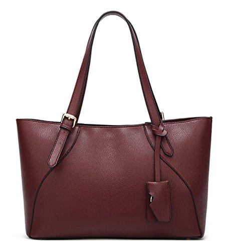 Oruil Large Capacity Red Frauen Handtasche mit Top Griff PU Faux Leder Zip Tote Bag Geeignet für das Tragen Magazin (Rot) (Leder Top Zip Large Tote)