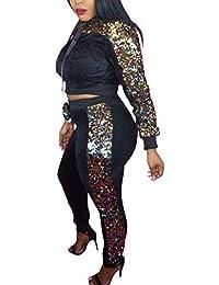 Donna Tute Sportive Primaverile Autunno con Paillettes Brillantini Leisure  Suit Eleganti Moda Manica Lunga Cute Chic 2a1b2047eca