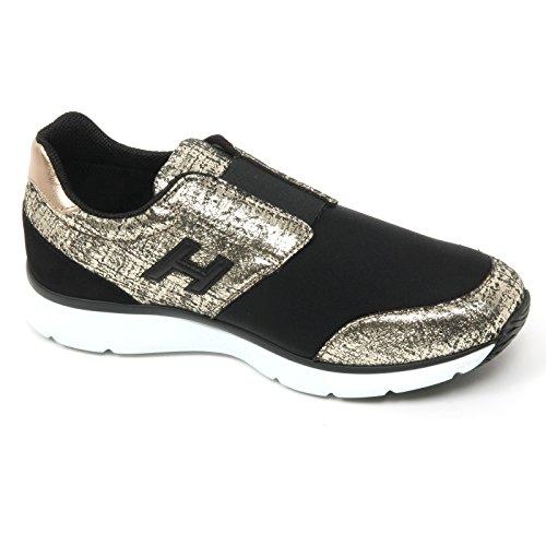B9422 sneaker donna HOGAN H254 TRADITIONAL ELASTIC scarpa oro/nero shoe woman Nero/Oro