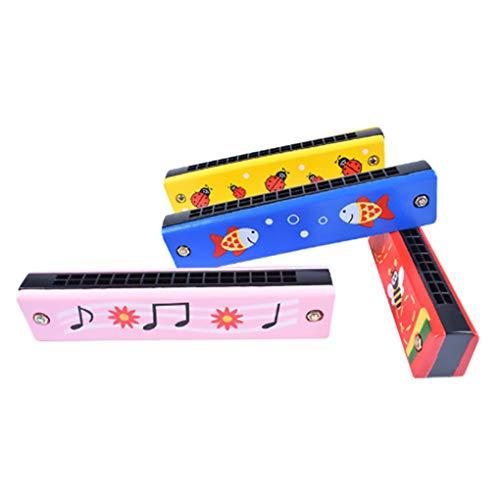 F-blue 13cm Kinder Hoelzern 16 Löcher Harmonika-pädagogisches Spielzeug Fun zweireihig Musical Frühe Kinder Spielzeug (zufällige Farbe)