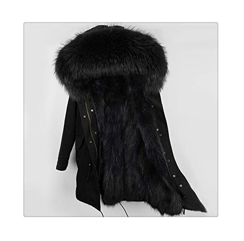 fur Coat Parkas Winter Jacket Coat Women Parka Big real Raccoon fur Collar Natural Fox fur Liner Long Outerwear 58 XXXL