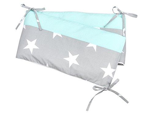KraftKids Nestchen große weiße Sterne auf Grau weiße Punkte auf Mint, Bett-Umrandung für Baby-Bett 140 x 70 cm, Baby-Nest mit separatem Außenbezug