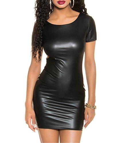 Sexy Damen Minikleid Club Party Leder-Look Wetlook Rückenfrei Reißverschluss div. Farben Einheitsgröße (Lepando/Schwarz)