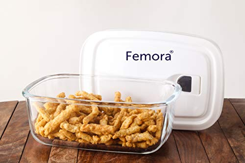 Femora Borosilicate Glass Microwave Safe Rectangle Storage Container with Vacuum Lid - 400ml