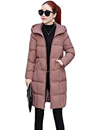 Zhiyuanan Women Hooded Down Jacket Slim Fit Long Bubble Coat Warm Comfy  Quilted Parka Casual Lined 525d90c69472