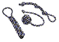 Dog toy set, ideal for playing, raving, working to capacity and cleaning of teeth for small to medium-sized dogs and puppies made of knotted PPM rope, rope+throwing ball+dummy in blue/grey.