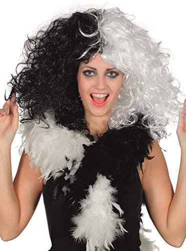 Karneval-Klamotten schwarz weiß Locken Perücke Böse Madame Bösewicht ()