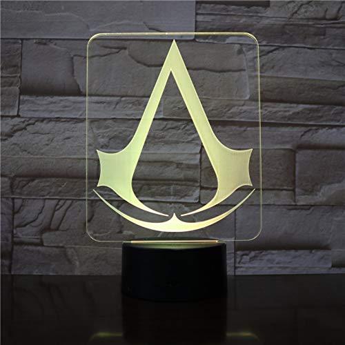 MLSWW 3D Nachtlicht Assassins Creed Game Logo Nachtlicht Geschenk für Kinder Schlafzimmer Dekor Farbwechsel Arbeitszimmer 3d LED Nachtlicht Lampe