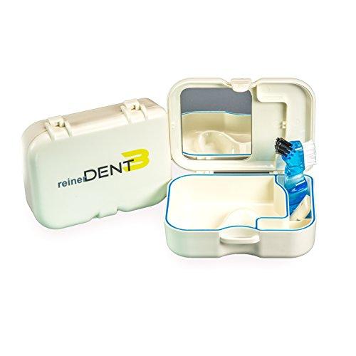 reinerDENT3 Zahnprothesen-Box mit integriertem Spiegel und zusätzlicher Prothesenbürste zur Aufbewahrung und Transport