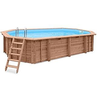 Gartenpool OCEAN WAVE, Schwimmbad Auf- und Erdeinbau, Holz, längliches Schwimmbecken, 7,27 x 3,96 x 1,38 m, Pumpe, Poolleiter, Skimmer