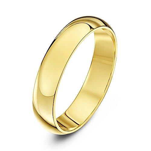 Theia Unisex Ehering 14 Karat Gelbgold, Sehr massive D-Form, poliert, 4mm - Größe 56 (17.8)