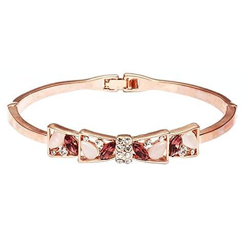 City Ouna® bijoux de mariage cristal Bijoux Rose or main élégant élégant chaîne Charm Bracelet féminin plaqué Bowknot Type strass bracelet pour femmes filles