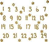 marinamalina adventskalender Zahlen adventskalender bügelbild Adventszahlen zum Aufbügeln Aufkleber Hotfix Bügelbild Textilaufkleber Glitterfolie Glitzerfolie bunt 24 Stück (425 Light Gold)