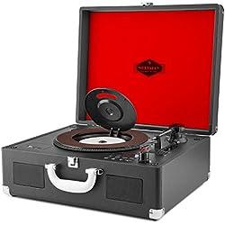 AUNA Peggy Sue CD - Platine Vinyle, Lecteur de CD, Compatible MP3, Haut-Parleur intégré, Port USB, Slot SD, Facile à Transporter, Sortie Casque et Line, Ecran LCD, Noir