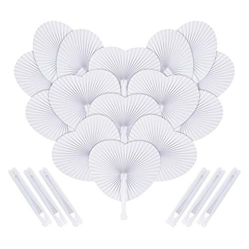 Handfächer Hochzeit, Samione 24 Stk. Papierfächer Herzförmiges Weiß Faltbar DIY Papier Fächer Dekoration für Hochzeit & Party (Kirche Passt Damen)