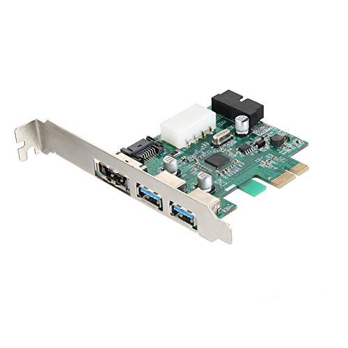 rokoo Erweiterungskarte PCI-E Super USB 2.02Ports + Anschluss USB3.0+ eSATA 19Pin für PC - Esata Erweiterungskarte