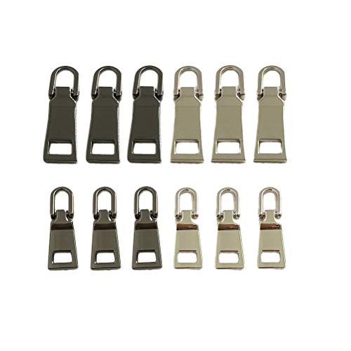 SUPVOX 12 Stück Zipper Pull Tabs Ersatz-Zipper Head Gepäckzubehör Leder Zipper Pull Card Abnehmbare Pull Tab, 2 Größen, 2 Farben Slider Card